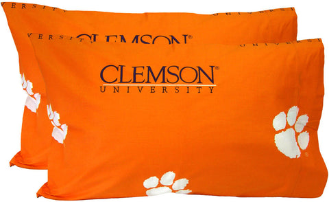 Clemson Printed Pillow Case - (Set of 2) - Solid - CLEPCSTPR by College Covers - Peazz.com