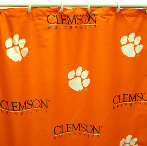 "Clemson Printed Shower Curtain Cover 70"" X 72"" - CLESC by College Covers - Peazz.com"