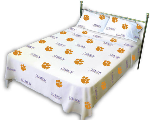 Clemson Printed Sheet Set Twin - White - CLESSTWW by College Covers - Peazz.com