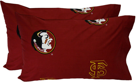 FSU Printed Pillow Case - (Set of 2) - Solid - FSUPCSTPR by College Covers - Peazz.com