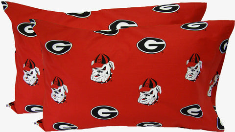 Georgia Printed Pillow Case- (Set of 2) - Solid - GEOPCSTPR by College Covers - Peazz.com