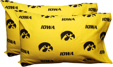 Iowa Printed Pillow Case - (Set of 2) - Solid - IOWPCSTPR by College Covers - Peazz.com