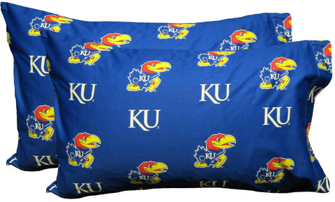 Kansas Printed Pillow Case - (Set of 2) - Solid - KANPCSTPR by College Covers - Peazz.com