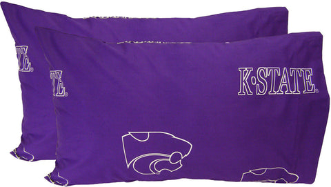 Kansas State Printed Pillow Case- (Set of 2) - Solid - KSUPCSTPR by College Covers - Peazz.com