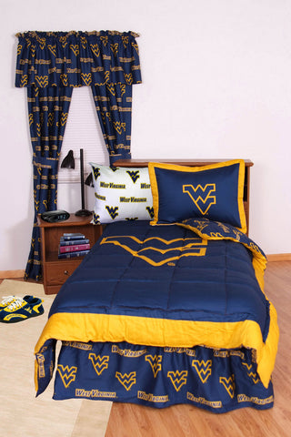 West Virginia Bed in a Bag Full - With White Sheets - WVABBFLW by College Covers - Peazz.com