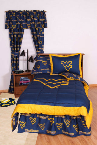 West Virginia Bed in a Bag Twin - With Team Colored Sheets - WVABBTW by College Covers - Peazz.com