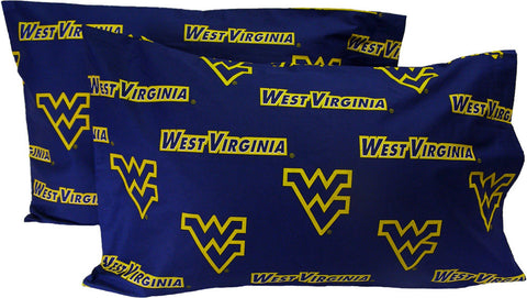 West Virginia Printed Pillow Case - (Set of 2) - Solid - WVAPCSTPR by College Covers - Peazz.com