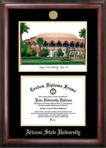 Arizona State University Gold embossed diploma frame with Campus Images lithograph - Peazz.com