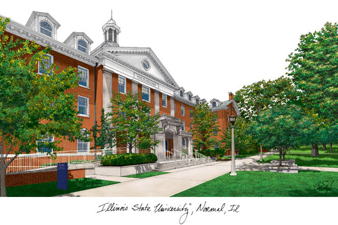 Illinois State Campus Images Lithograph Print