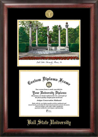 Ball State University Gold embossed diploma frame with Campus Images lithograph - Peazz.com