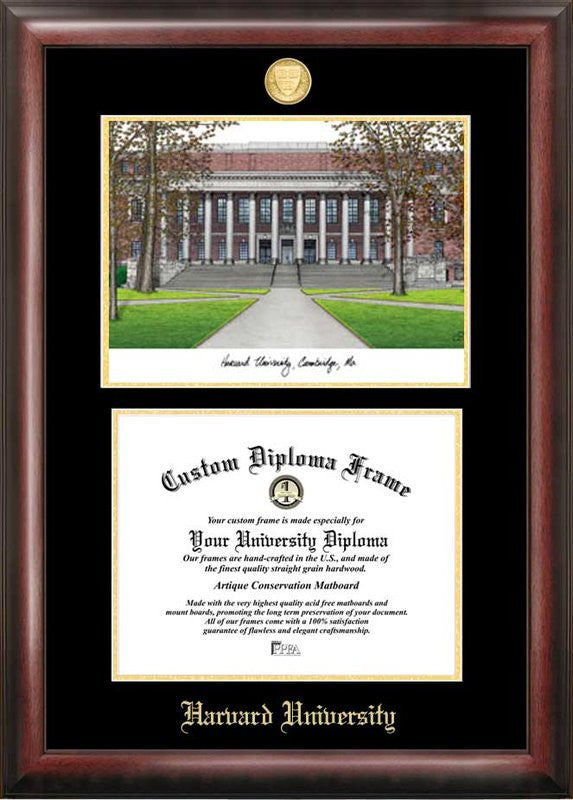 Harvard University Gold Embossed Diploma Frame With Campus Images Lithograph