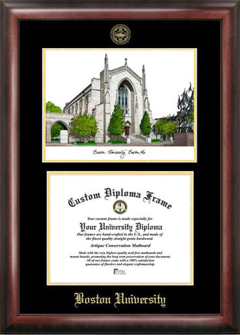 Boston University Gold embossed diploma frame with Campus Images lithograph - Peazz.com
