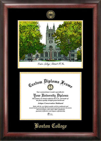 Boston College Gold embossed diploma frame with Campus Images lithograph - Peazz.com