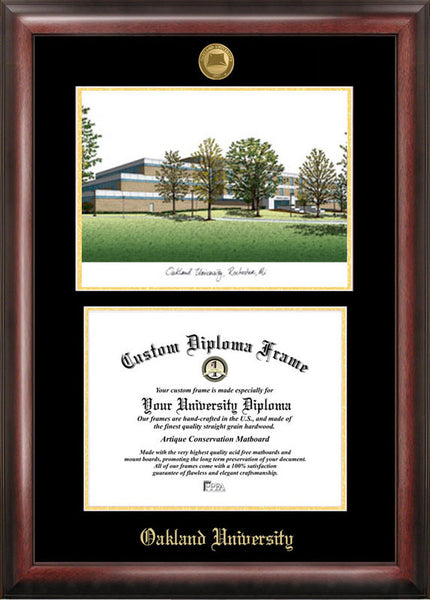 Oakland University Gold Embossed Diploma Frame With Campus