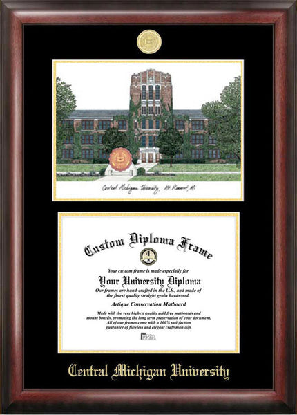 Central Michigan University Gold Embossed Diploma Frame