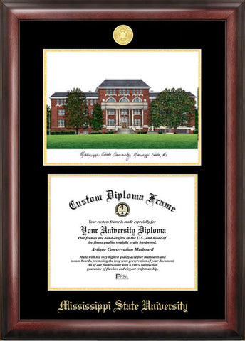 Mississippi StateGold embossed diploma frame with Campus Images lithograph - Peazz.com