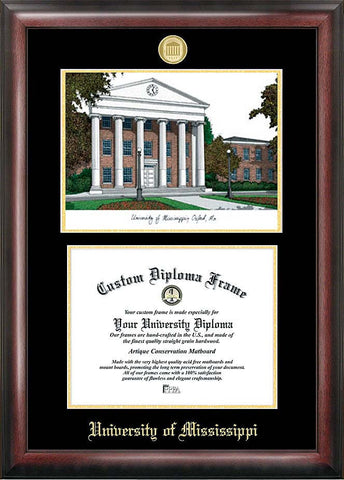 University of Mississippi Gold embossed diploma frame with Campus Images lithograph - Peazz.com