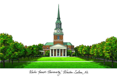 Wake ForestUniversity Campus Images Lithograph Print - Peazz.com