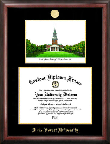 Wake ForestUniversity Gold embossed diploma frame with Campus Images lithograph - Peazz.com