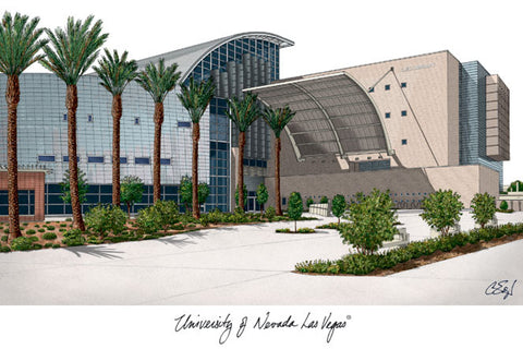 University of Nevada,Las Vegas Campus Images Lithograph Print - Peazz.com