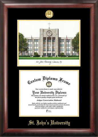 St. John's UniversityGold embossed diploma frame with Campus Images lithograph - Peazz.com