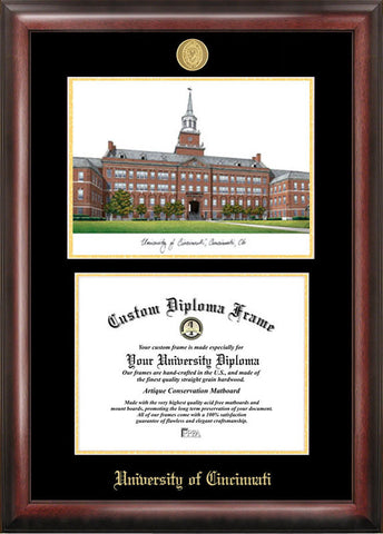 University of Cincinnati Gold embossed diploma frame with Campus Images lithograph - Peazz.com