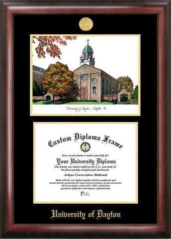 University of Dayton Gold embossed diploma frame with Campus Images lithograph - Peazz.com