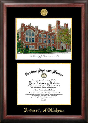 University of Oklahoma Gold embossed diploma frame with Campus Images lithograph - Peazz.com