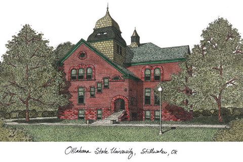 Oklahoma State University Campus Images Lithograph Print - Peazz.com