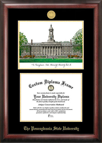 Penn State University Gold embossed diploma frame with Campus Images lithograph - Peazz.com