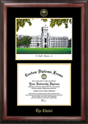 The Citadel Gold embossed diploma frame with Campus Images lithograph - Peazz.com