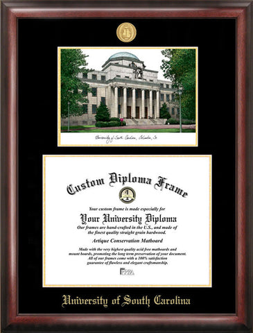 University of South Carolina Gold embossed diploma frame with Campus Images lithograph - Peazz.com