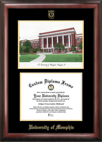University of Memphis Gold embossed diploma frame with Campus Images lithograph - Peazz.com
