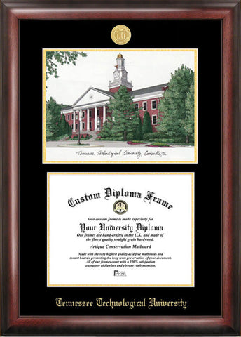 Tennessee Tech University Gold embossed diploma frame with Campus Images lithograph - Peazz.com