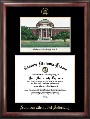 Southern Methodist University Gold embossed diploma frame with Campus Images lithograph - Peazz.com