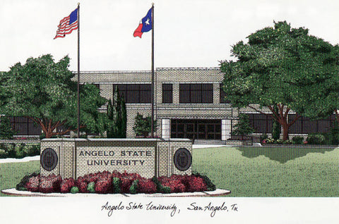Angelo State University Campus Images Lithograph Print - Peazz.com