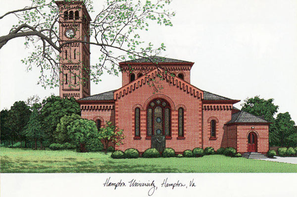 Hampton University Campus Images Lithograph Print