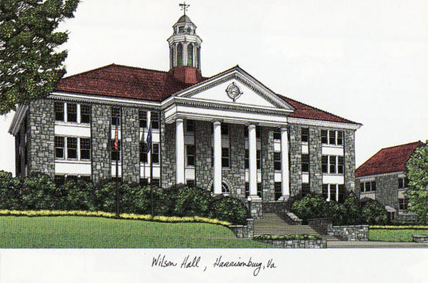 James madison university campus images lithograph print for James madison pets
