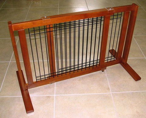 "Crown Pet Freestanding Wood/Wire Pet Gate, Rubberwood 21"" High -Large Span - Peazz.com"