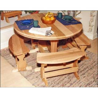 "Creekvine Design WF6408D-2CVD 35"" Cedar Round Trestle Dining Set - Peazz.com"