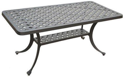 Bayden Hill CO6201-BK Sedona Cast Aluminum Rectangular Cocktail Table in Charcoal Black Finish - Peazz.com