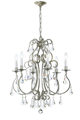 Crystorama Clear Hand Cut Crystal Chandelier 6 Lights - Old Silver - 5016-OS-CL-MWP - Peazz.com