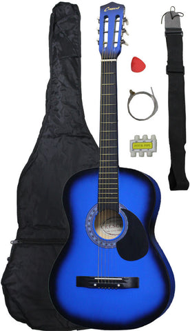 Crescent Direct MG38-BU 38 Inch Blue Beginner Acoustic Guitar - Peazz.com
