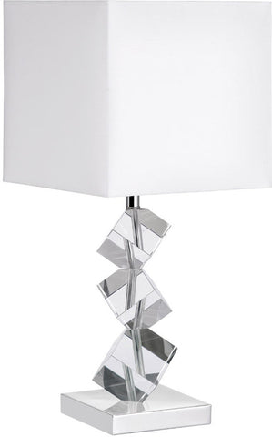 Dainolite 1 Lite Polished Chrome Table Lamp Optical K-9 Crystal White Shade 601T-PC-WH - Peazz.com