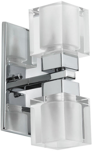 Dainolite 2 Lite Polished Chrome Wall Sconce Frosted Cube Glass 83889A-PC - Peazz.com