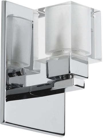 Dainolite 1 Lite Polished Chrome Wall Sconce Frosted Cube Glass 83891A-PC - Peazz.com