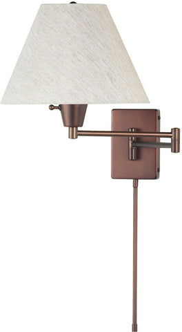 Dainolite Oil Brushed Bronze Swing-Arm Wall Lamp With Plain Linen Cream Shade DMWL800-OBB - Peazz.com
