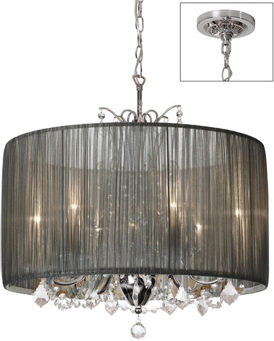 Dainolite 5 Lite  Polished Chrome Crystal Chandelier With Gathered Pleat Silver Shade VIC-205C-PC-316 - Peazz.com