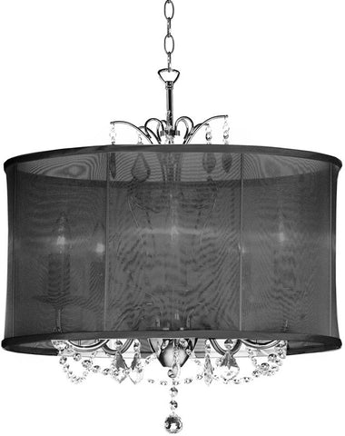Dainolite 5 Lite  Polished Chrome Maple Droplets Crystal Chandelier With Black Organza Shade VNA-20-5-115 - Peazz.com
