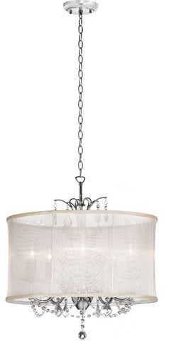 Dainolite 5 Lite  Polished Chrome Maple Droplets Crystal Chandelier With Oyster Organza Shade VNA-20-5-117 - Peazz.com